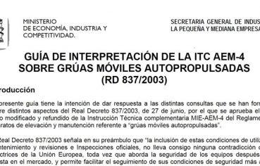 Guía de interpretación de la ITC AEM-4 sobre Grúas Móviles autopropulsadas (RD 837/2003)